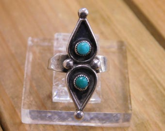 Turquoise Sterling Silver Shadowbox Style Ring Size 4