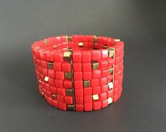 Vintage Cherry Red Bakelite and Meta; Square Bead Stretch Cuff Bracelet
