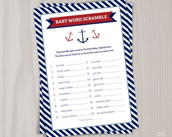 Baby Word Scramble, Red Little Boy Nautical Baby Shower Game, PRINTABLE Game, Ahoy it's a BOY Navy Shower Instant Download