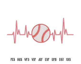 Baseball embroidery design Heartbeat embroidery design Baseball heartbeats embroidery pes hus vp3 vip sew exp emd dst designs