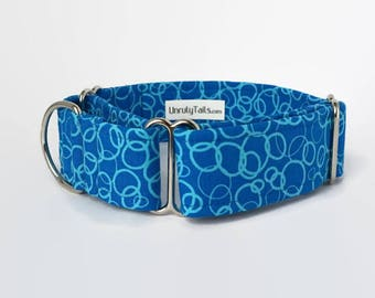 Water Bubbles Adjustable Dog Collar - Martingale Collar or Side Release Buckle Collar  -  Summer dog collar - Beach dog collar - Pool dog