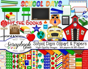SCHOOL DAYS Clipart & Papers Kit, 26 png Clip arts, 20 jpeg Papers Instant Download education books owl bus pencil stapler globe apple chair
