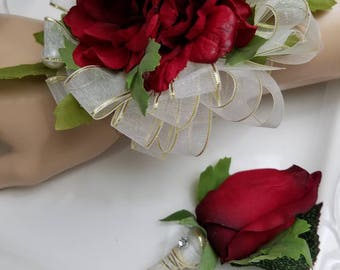 Red Prom Corsage Set Wrist Corsage Comes With Matching Boutonniere In Clear Corsage Box Artificial Flowers  READY To SHIP