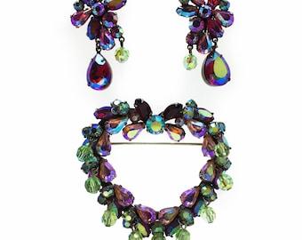 VENDOME 1950s Shocking Pink & Green Vintage Crystal HEART Brooch Earrings Set