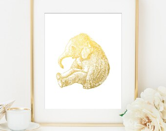 ELEPHANT BABY Faux Gold Foil Art Print - White & Gold - Imitation Gold Leaf - Gold Elephant - Children Room Nursery Decor - Baby Elephant