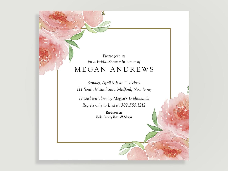 Bridal Shower Invitation Peony Flower Invitation Wedding