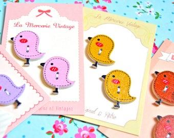 2 little bird wood buttons - yellow, pink, brown - 26x23mm - wood button, bird button, spring button