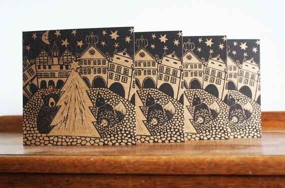 Linocut Cards Set of 4, Christmas in Town, Original Hand Printed Card, Linocut Card, Blank Greeting Card,  Kraft Card, Free Postage in UK,