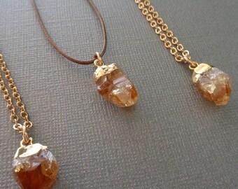 Raw Citrine Necklace /Crystal Point Citrine Necklace /Rough Citrine and Gold Necklace / Raw Stone Jewelry/ November Birthstone Gift //GR9