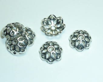 5 13mm decorated Tibetan silver caps