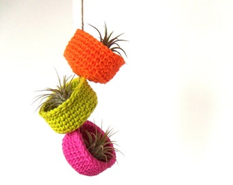 Hanging Air Plant Trio in Colorful Neon Cotton Bowl Planters
