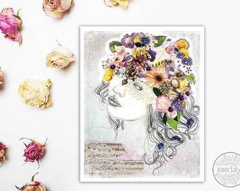 mixed media collage art, illustration print, boho decor, giclee print, mixed media illustration, gypsy girl, bohemian art