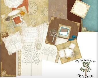 Digital scrapbook, Quick pages, Digital Paper, Family Tree, Genealogy, Ancestry, Heritage, digital download
