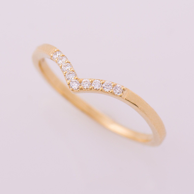 Chevron Ring 14K Yellow Gold Diamonds Ring V Shaped Ring