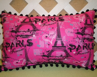 Forever Paris Pillow with Eiffel Tower Hot Pink and Black