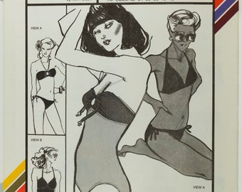Misses Tube Swimsuit and Two Way Bikini Stretch and Sew 1340 Vintage Sewing Pattern Bust 30 to 40 inches, Uncut