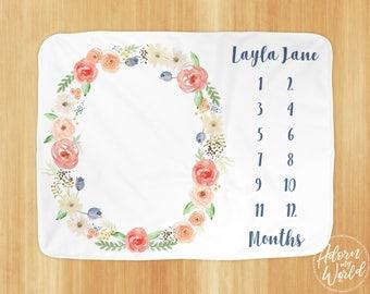 Monthly Milestone Blanket, Baby Girl Gift, baby Shower Gift, Gift For Baby Girl, Newborn Gift, Baby Milestone Blanket, Month Blanket Girl,