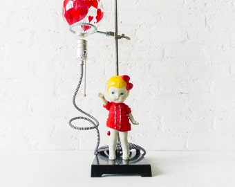 20% SALE - Balloon Girl Light - Industrial Science Stand Lamp - Vintage Bisque Doll Figurine - Painted Heart Lightbulb - ZigZag Cloth Cord
