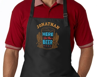 Personalized Embroidered Apron Here for the Beer Men's Apron