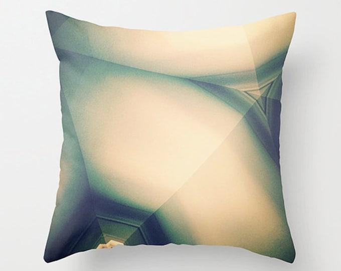 Cream Taupe Sofa Pillow, Geometric Abstraction Accent Pillow, Neutral Throw Pillow Cover, 18x18 22x22 Decorative Pillow Cushion Teal Aqua