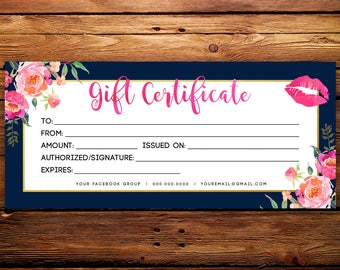 LipSense Business Gift Certificate || SeneGence Gift Card Custom Striped Navy Watercolor Florals
