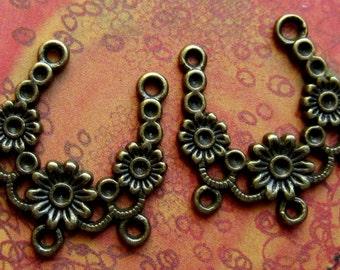 8 Earring dangles bohemain jewelry  findings antique bronze chandeliers diy jewelry supply 23mm x 25mm EA354 (F3)