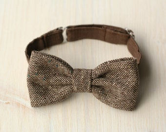 Brown wool tweed / linen bow tie, baby bow tie, ring bearer bow tie, boy wedding outfit, photo prop, 1st birthday boy outfit