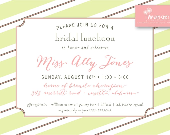Chic Stripe Wedding Shower | Party Invitation
