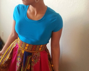 Pleated Dashiki Skirt