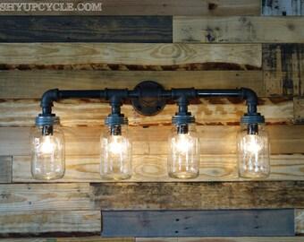 Industrial Styled Four Ball Mason Jar Wall Sconce