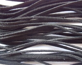 Set of 5 cords of 1 m of suede black