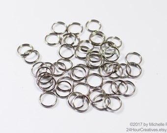 Steel Split Rings - 10mm Steel Splitrings - Imitation Nickel Plated Steel Split Jump Rings - Split Jumprings - Pack of 100 - Ships from USA