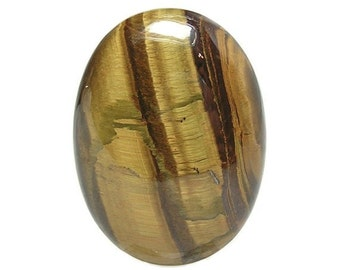 Tiger Iron, Golden Tiger's Eye Chatoyant Banded Semiprecious Gem Stone Calibrated Oval Gemstone Cabochon Loose Craft Jewel 40x30 mm oval gem