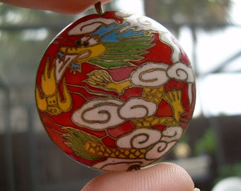 Unique Large Vintage Cloisonne and Brass Chinese Dragon Bead~ Rare Find