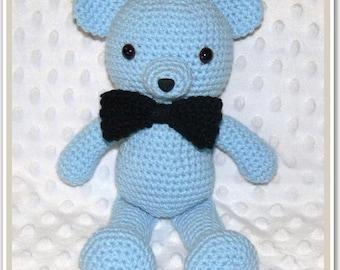 Newborn Baby Crocheted Baby Blue Teddy Bear 30cm high standing, 22cm high sitting.