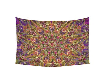 Purple Mandala  tapestry- abundance and blessing symbols-old style effect- print on cotton linen fabric- plaid, table cover, bed cover ...