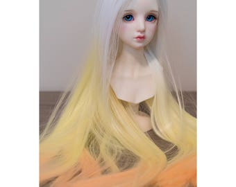BJD handmade gradient/ ombre color long straight wig white yellow & orange