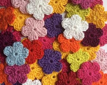 """Crochet flowers - Mix - Mercerized cotton - Random 12 colors -  Size approx. 3.2 - 3.5 cm  (1.18""""-3.38'')"""