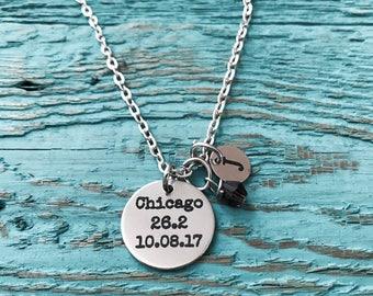 Chicago 26.2, Date, Chicago Marathon, Runner's, Running, Marathon, Runner Gift, Running shoes.,Silver Necklace, Charm Necklace, Gifts for