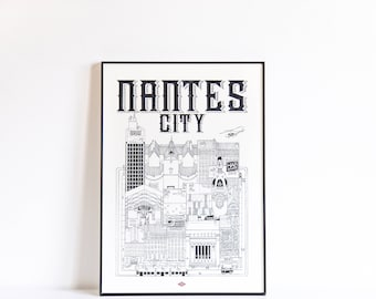 Nantes City / A4 / doctor Paper / Travel With Me / Illustration / travel / poster / city / wall decor / black and white / Design