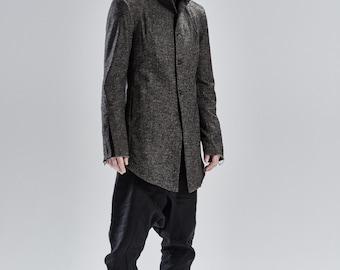 Brown Wool Jacket / Futuristic Urban Coat / Extravagant Mens Clothing / Handcrafted Brown Mens Coat / Wool Asymmetric Jacket by POWHA