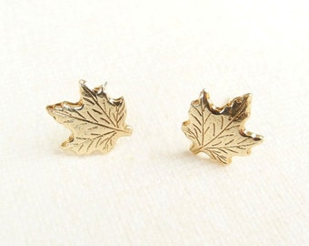 Maple Leaf Earrings, Autumn Jewelry, Canada Earrings, Woodland Studs, Tiny Stud Earrings, Golden Brass Leaf, Sterling Silver Hypoallergenic