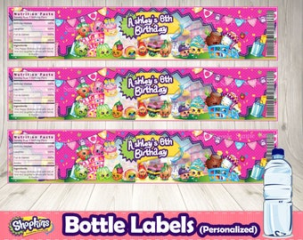 SHOPKINS BOTTLE LABELS (personalized)- Shopkins printable .Shopkins birthday party.Shopkins labels. Shopkins buffet. Shopkins decoration