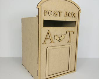 Christmas *PERSONALISED* Wedding Post Box, Party, Royal Mail Style - Flat Pack, Ready to Build & Decorate - POSTBOX