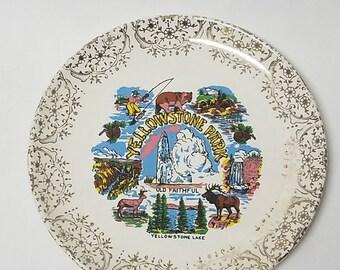 Vintage Yellowstone National Park Souvenir Ceramic Plate Wyoming USA