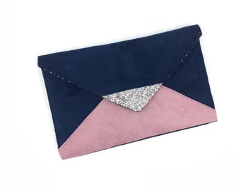 Evening clutch bag wedding Blue Suede Navy and pink, silver glitter