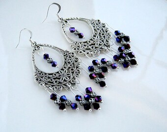Purple Crystal Chandelier Earrings Purple Crystal Filigree Earrings Purple Earrings