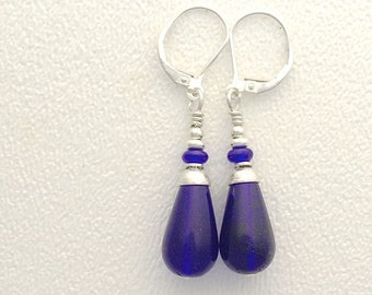 Cobalt Glass Earrings #3 with Sterling Silver French Hooks