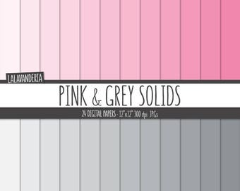 Pink and Grey Solids Digital Paper Pack. Plain Backgrounds. Solid Pink and Gray Gradient Papers - Digital Scrapbook - Instant Download