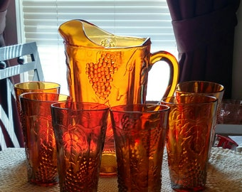 Amber Harvest Carnival Glass 64oz Pitcher and set of 6 matching Tumblers/Coolers